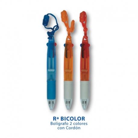 Bolígrafo Tránslucido con Cordón Bicolor